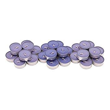 Paquete de 30 velas de té Sinnlig de Ikea, aroma de mora con notas de menta, color lila