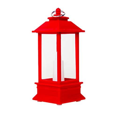 Weihnachten Lights Kerzenhalter, Weihnachtsdekoration Leuchter Anhänger Weihnachts Wind Light Kerzenleuchter Mini-Tischlampen Dekor Lichterketten Innen Außen Deko Lichter für Partys Garten (Rot) -