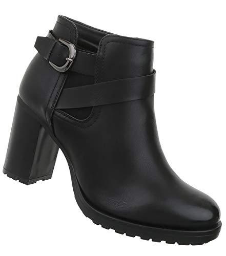 Damen Schuhe Stiefeletten Kurze High Heels Ankle Boots Pfennigabsatz Schwarz 39