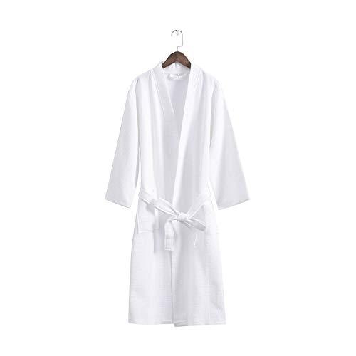 Ycxydr Schlafanzug Cotton Bademantel Schalkragen Männer und Frauen Fallen Waffel Baumwolle Bademäntel Größen: S, M, L, XL Bademantel (Color : White)