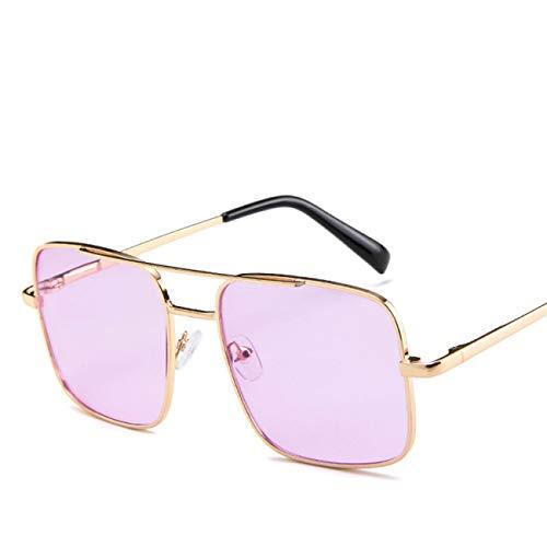 DEFG&FAD Quadratische Sonnenbrille-Männer, die Sonnenbrille für Frauen Fahren Metal Designer Cool Shades Mirror Retro, Purple