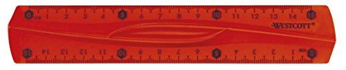 Westcott E-10220 00 Righello flessibile, infrangibile, trasparente, 15 cm, 3 colori assortiti