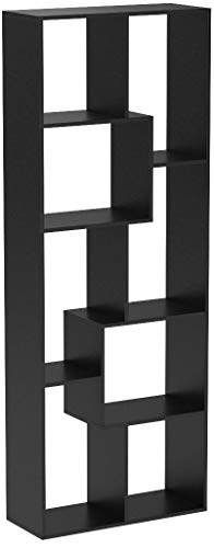 Homfa Bibliothèque en Bois Étagère de Rangement Design Salon Bureau 60x24x160cm (Noir)