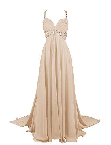Dresstells, Robe de soirée Robe de cérémonie Robe de gala emperlée bustier en cœur traîne watteau Champagne