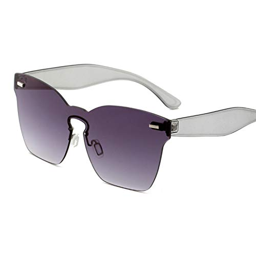 CCGSDJ Übergroße Damenmode-Sonnenbrille Trendy Gelb Rot Rosa Grün Lila Frameless Big Sun Glasses
