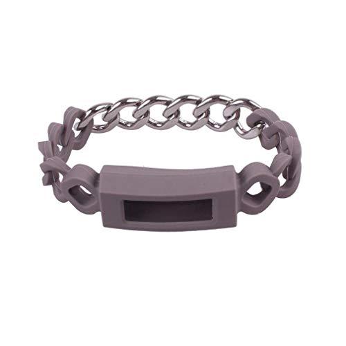 (Fitbit Alta HR Watch Band,Moeavan Silikon und Metal Stitching Watch Band Metal Strap Armband für Fitbit Alta und Alta HR (Grau))