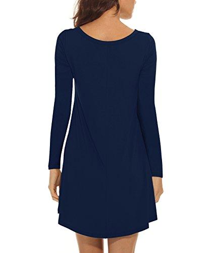 VIISHOW Damen Langarm Taschen Casual Lose T-Shirt Kleid Navy Blau