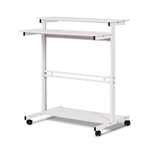 DEVAISE Mobilen Höhenverstellbare Stehpult / Stand-up Schreibtische / Computertische, Weiß