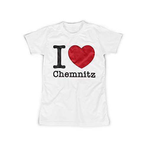 Frauen T-Shirt mit I Love Chemnitz Aufdruck in White Gr. XXXXXL I Love Chemnitz Design Top Shirt Frauen Basic 100% Baumwolle Kurzarm