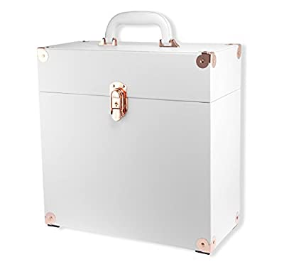 "JACK & CABLE Vinyl Record Case for 12"" LPs Albums - White with Rose Gold Hardware (JC0501)"