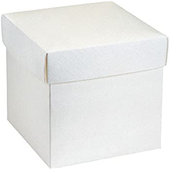 10 Stück Kartonage Würfel mit Deckel Seta weiß, 12 x 12 x