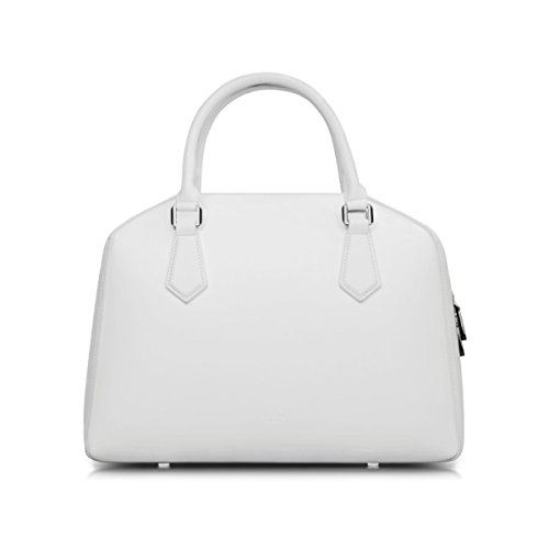 Damen Handtasche Mode Business Travel Boston Tasche Damen Leder Temperament Schwarz-Weiß-Aktentasche White