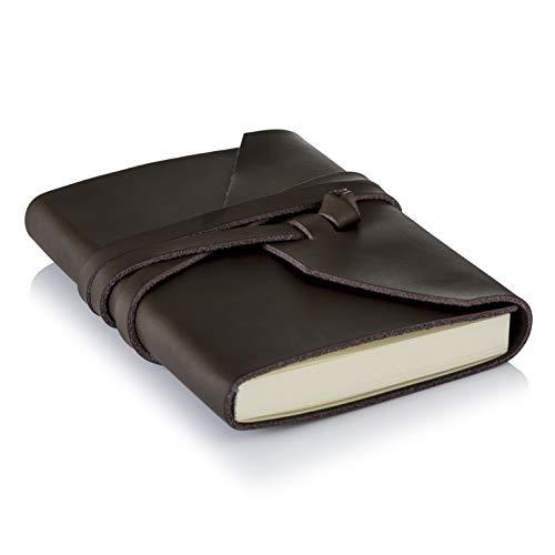 Cuaderno Diario Cubierta de Cuero Auténtico | Papel de Primera Calidad Sin Pautar | Diario de Viajes | Páginas Fijas | para Hombres y Mujeres | Marrón Vintage | A6 (14 x 11 cm) | de Antony Olivier