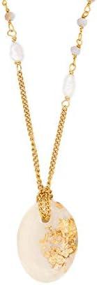 Girocollo con catena composta rosario in metallo placcato oro giallo e catena groumette, inserti di perle di f