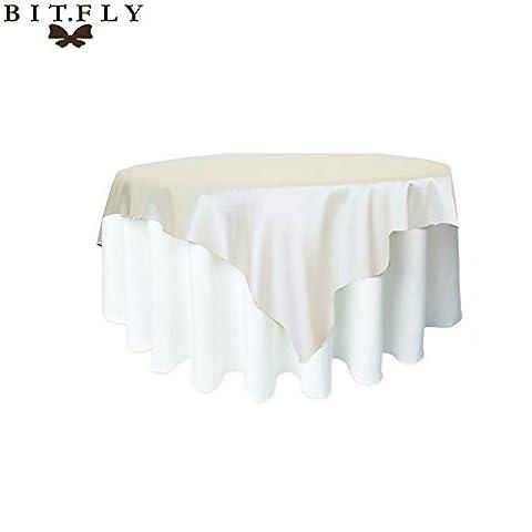 BITFLY 57inch (145cm x 145cm) Manteau en satin carré Nappe de table pour mariage Décorations de banquets de restaurant 21 Couleurs Ivoire