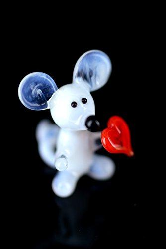 Weiße Maus mini mit Herz - Mäuschen Figur aus Glas - Miniatur Glasfigur Glastier Deko-k-5