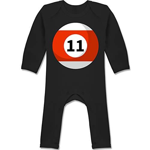 Elf Kostüm Monate 18 12 - Shirtracer Karneval und Fasching Baby - Billardkugel 11 Kostüm - 12-18 Monate - Schwarz - BZ13 - Baby-Body Langarm für Jungen und Mädchen
