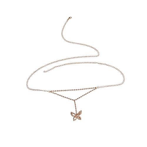 xy Schmetterling Körperketten Geschirr Metall Halskette Strass Ketten Dame Stilvoll Schmuck Sommer Zubehör Zum Strand Party Nachtclub Liebhaber Geschenk,Gold ()
