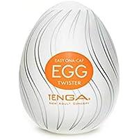 Tenga Huevo Twister, Funda Masturbadora, 4.9 x 6.1 x 4.9 cm, Color Blanco / Naranja / Plata - 42 gr