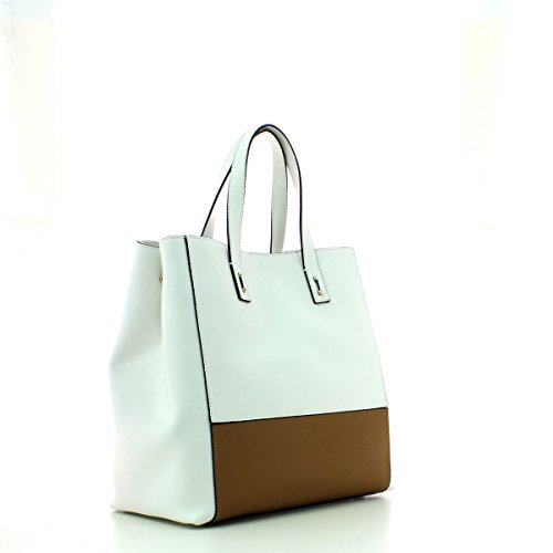Borsa Shopping verticale Coccinelle in pelle saffiano Bianco / Cuoio