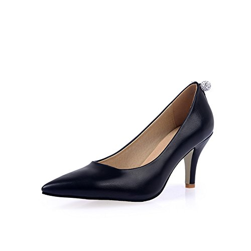Adee Mesdames strass Confort polyuréthane Pompes Chaussures Noir