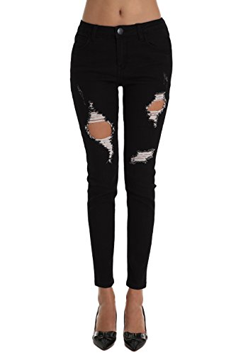 ZLZ Skinny Jeans, Women's Ripped Distressed Destroyed Stretch Ankle Jeans Leggings With Hole