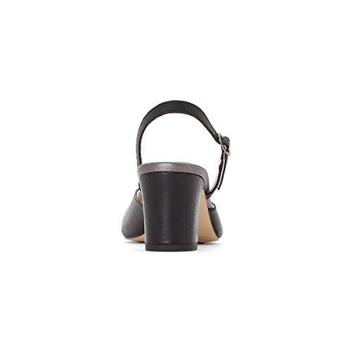 1cd631d8e6 ... La Redoute Anne Weyburn Femme Cuir Decolete Bicolore Noir / Argent