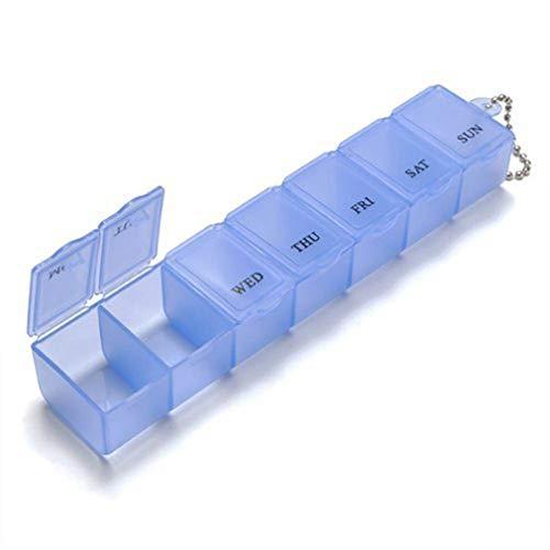Jooks Wöchentliche Medikamente Speicherorganisator Pillen Container Fall 7-Tage-Tablette Pill Box Holder für Olders Travel Heimgebrauch von TheBigThumb, Blau -