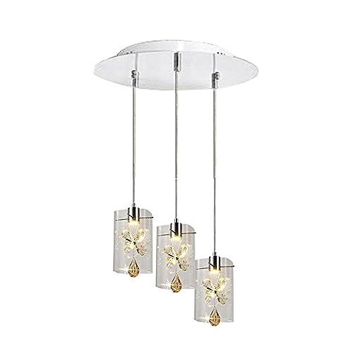 Modern Simple Crystal LED Chandelier, Elegant 3 Head Ceiling Light for Living Room, Dining Room, Bedroom