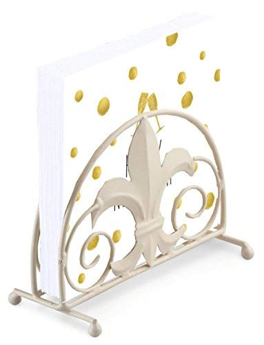 Feliz Año Nuevo Oro Blanco Lunares Copa de Champán 20 X 3 Capas Servilletas de Papel & Flor de Lis Servilletero Juego
