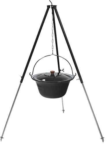 Grillplanet Gulaschkessel Set 10 Liter emailliert mit Deckel, Teleskopgestell 130 cm