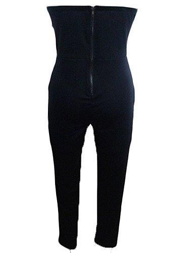 GSP-Combinaisons Aux femmes Sans Manches Vintage/Sexy/Moulant/Décontracté/Soirée/Travail/Grandes Tailles Coton/Mélanges de Coton Moyen black-xs