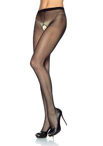 Leg Avenue 1905Q - Plus Größe Transparente Nylon Strümpfhosen, schwarz, Plus Size (EUR 42-46), Dessous Damen Reizwäsche (Size Avenue Leg Strumpfhose Plus)