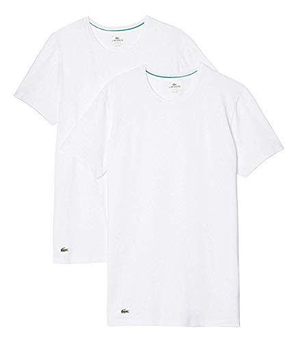 Lacoste T-Shirt pour hommes Maillots de corps Coupe ronde 148321 en Lot de 2 lot - blanc, XL