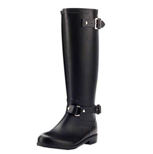 LvRao Damen wasserdichte Regenstiefel Knielänge Boots Schnee Regen Booties Reißverschluss Schnalle Casual Garten Stiefel Gummistiefel (Schwarz Rot, EU 38 / CN 39) Casual Stiefel