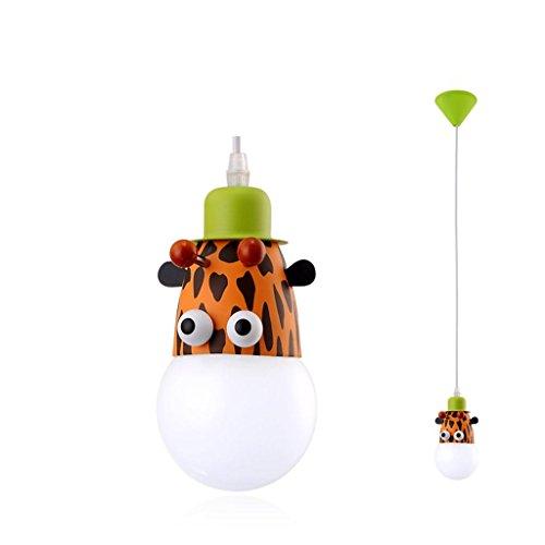 TRRE Animal de bande dessinée animal tête unique pendentif lampe, singe/zèbre/girafe, E27 * 1, créatrice de personnalité chambre d'enfants lustre Luminaires intérieur (Couleur : Giraffe)