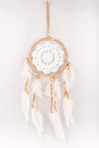 Dreamcatcher (HAGO hochwertiger Traumfänger für angenehme Träume | Handgemachter Dreamcatcher mit echten Federn und Holz Perlen | Traum Fänger weiß-beige 12cm)