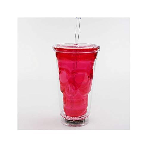GXQBZ Helle Sippy Tasse Mode Doppel-Plastik-Rotwandel ändern Tasse transparenten Blitz-LED-Kunststoff