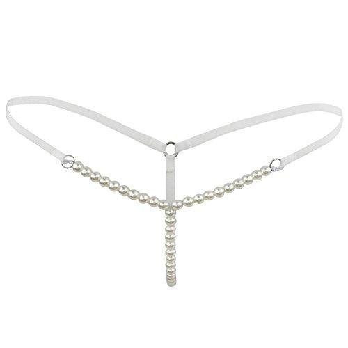 CHICTRY Damen Slip String Tanga Perlenstring Micro String Dessous Höschen Unterhose mit Ketten Weiß One Size