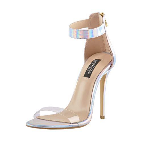 Onlymaker Damen Knöchelriemen, High Heels, offene Zehe, Stiletto, holografische PVC-Sandalen, Mehrfarbig - Mehrfarbig - Größe: 36 EU -