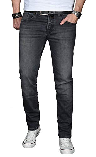 A. Salvarini Designer Herren Jeans Hose Basic Stretch Jeanshose Regular Slim [AS030 - Dunkelgrau - W32 L32]