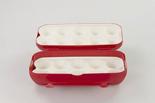TUPPERWARE Kühlschrank Eierbox rot Eier Box Aufbewahrung Dose Ei Kolumbus