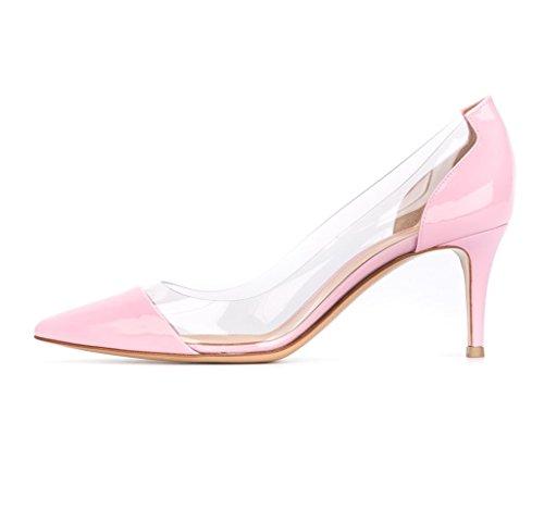 Kolnoo 65mm Senhoras Bombas Transparentes Knitte Calcanhar Fechado Rosa Sapatos