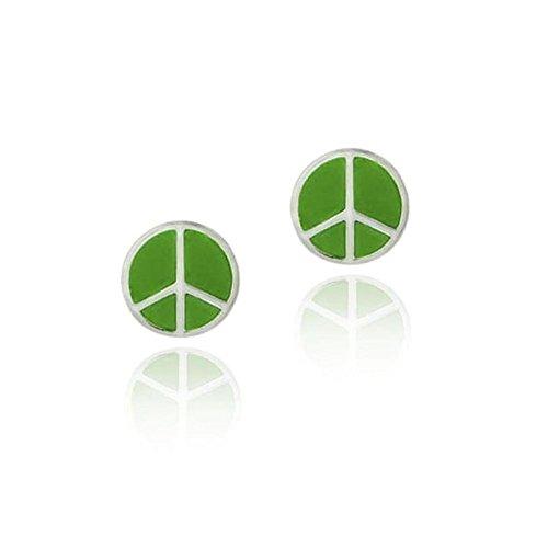 Frieden Peace-Zeichen Ohrringe / Ohrstecker mit grüner Emaille, Sterling Silber