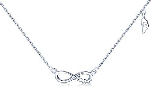 """Unendlich U Fashion Unendlichkeit Symbol\""""Forever\"""" Flügel Damen Halskette 925 Sterling Silber Anhänger Verstellbare Kette, Silber"""