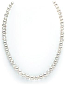 Weiße Perlenkette 7-8mm Zuchtperlen Princess Länge 43cm - Goldverschluss