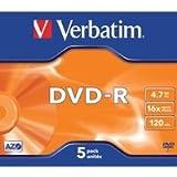 Verbatim DVD-R 4,7 GB DVD-Rohlinge, 16fach, 5 Stück