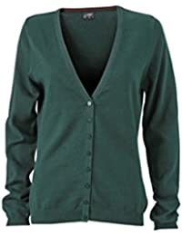JAMES & NICHOLSON Classic cotton cardigan (M, forest green)