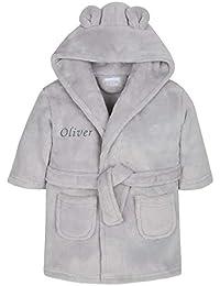 Baby Girl Boy Personalised Dressing Gown Bathrobe Hooded Bear Ear Pink Blue Grey White