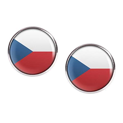 Mylery Ohrstecker Paar mit Motiv Tschechien Tschechische Republik Czech Republic Flagge silber 16mm -